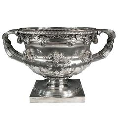 "Monumental, Georgian, Sterling Silver ""Warwick Vase"" Champagne Wine Cooler"
