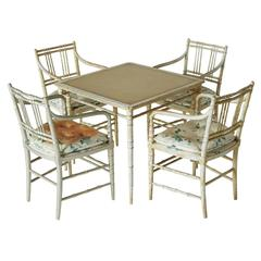 Cafe or Gaming Leather Table and Four Armchairs by Maison Jansen, Marked - SALE