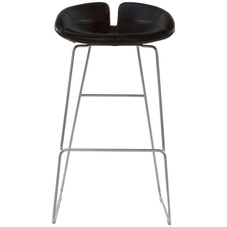 Moroso Brown Leather Fjord High Bar Stool By Patricia