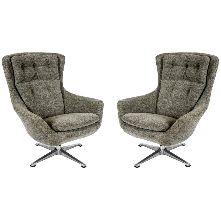 Pair of Swivel Armchairs For Sale