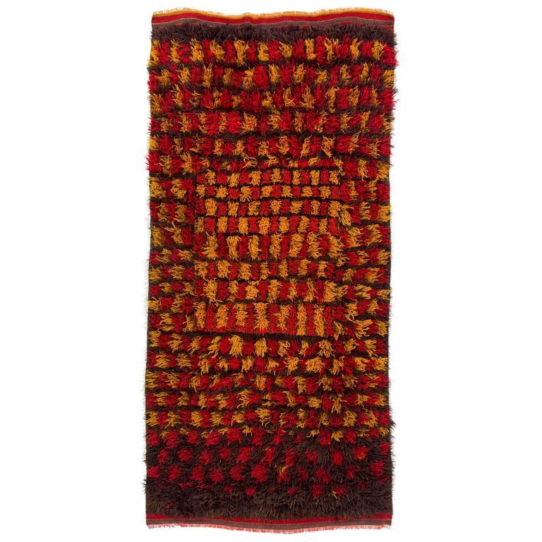 Yellow Checkered Rug: Vintage Tulu Rug In Red, Yellow And Brown Colors For Sale