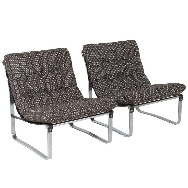 Wood Spring Chairs ~ Pair of spring lounge chairs with wood bracket back ingmar