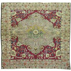 Antique Turkish Sivas Square Size Throw Scatter Rug