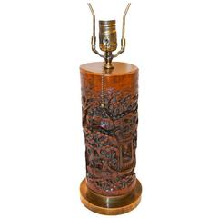 Single Carved Chinese Table Lamp