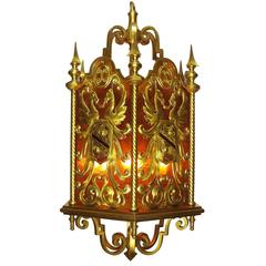 French 19th-20th Century Neoclassical Style Gilt Bronze Figural Hanging Lantern