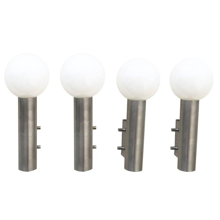 Set of Four Polished Stainless Steel Sconces, France, 1970s