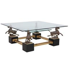 Huge Sculptural Coffee Table Flying Chinese Horses by Maison Charles
