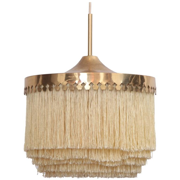 Fringed Silk Pendant Light by Hans-Agne Jakobsson Made in Sweden, 1960s For Sale