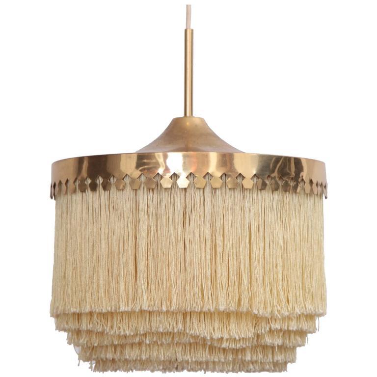 Fringed Silk Pendant Light by Hans-Agne Jakobsson Made in Sweden, 1960s