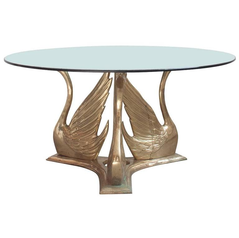 Magnificent Hollywood Regency Style Brass Swan Trio Coffee Table At 1stdibs