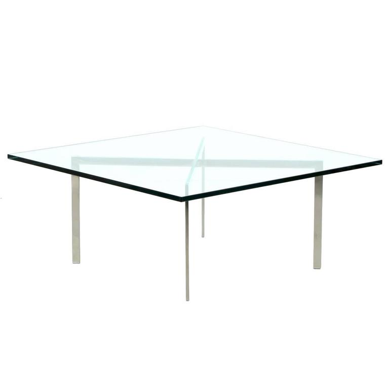 Signed Barcelona Chrome And Glass Coffee Table By Mies Van Der Rohe For Knoll 1