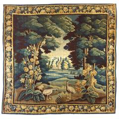 Antique 17th Century Flemish Verdure Tapestry with Exotic Birds in a Landscape