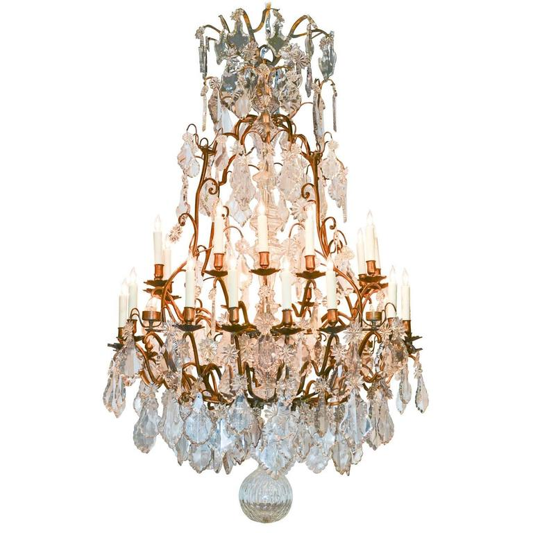 Monumental French Bronze and Crystal Thirty-Five-Light Chandelier
