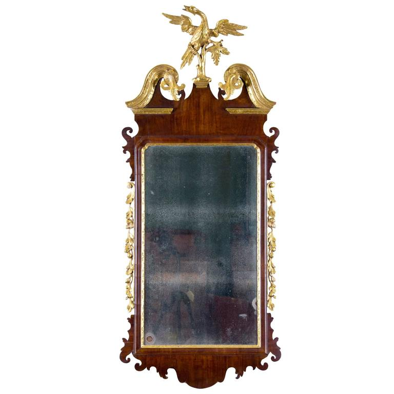Chippendale Mahogany Parcel Gilt Mirror With Phoenix