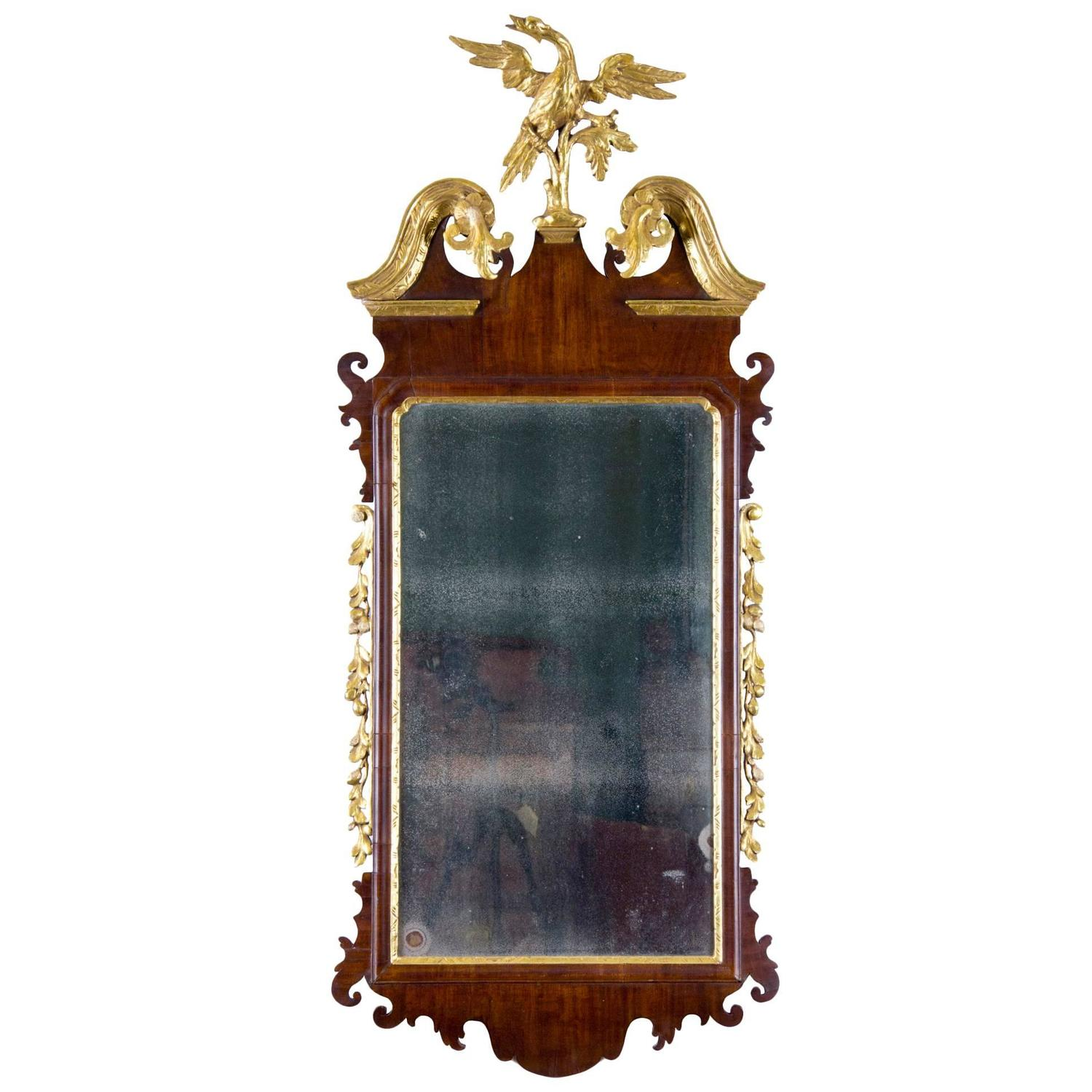 Chippendale Gany Parcel Gilt Mirror With Phoenix Finial American Or English