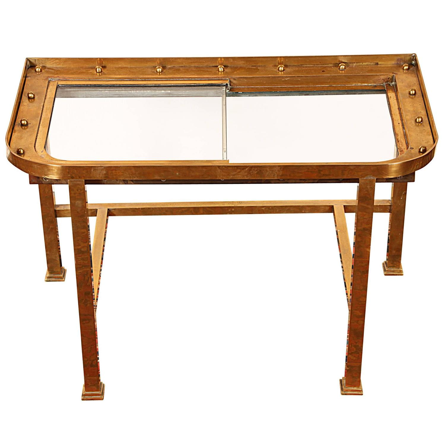 unique antique nautical window custom mounted as table for sale at 1stdibs. Black Bedroom Furniture Sets. Home Design Ideas