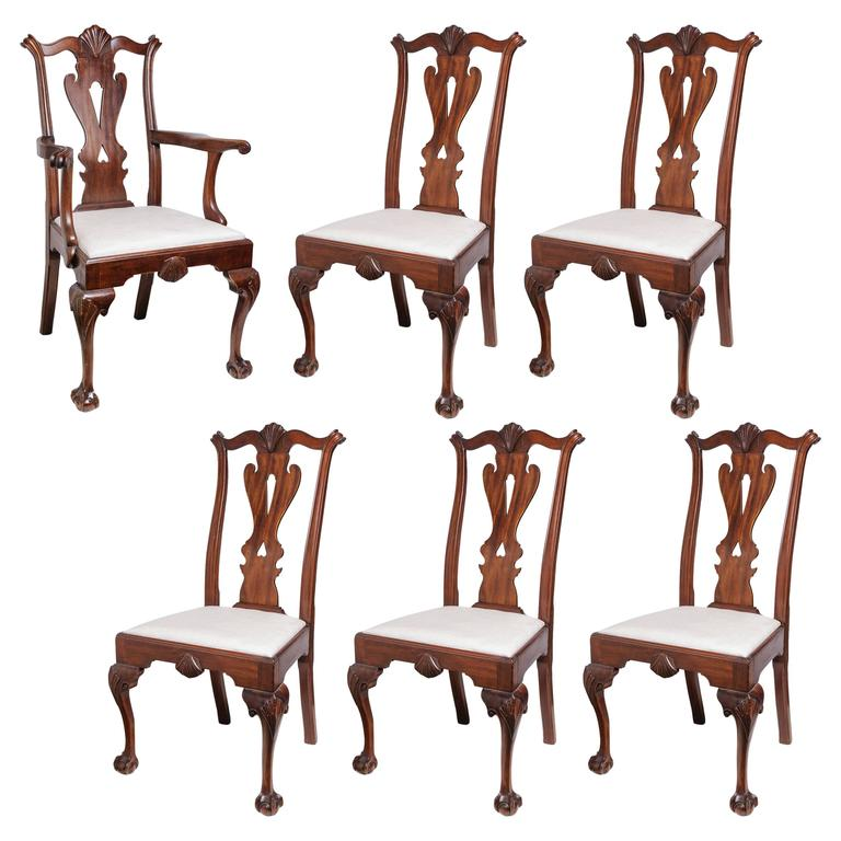 Set of Six 19th Century English, Chippendale Style Mahogany Dining Chairs