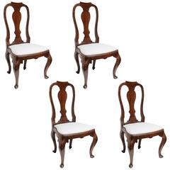 Set of Four 19th Century Queen Anne Revival Side Chairs, Slip Seats in White