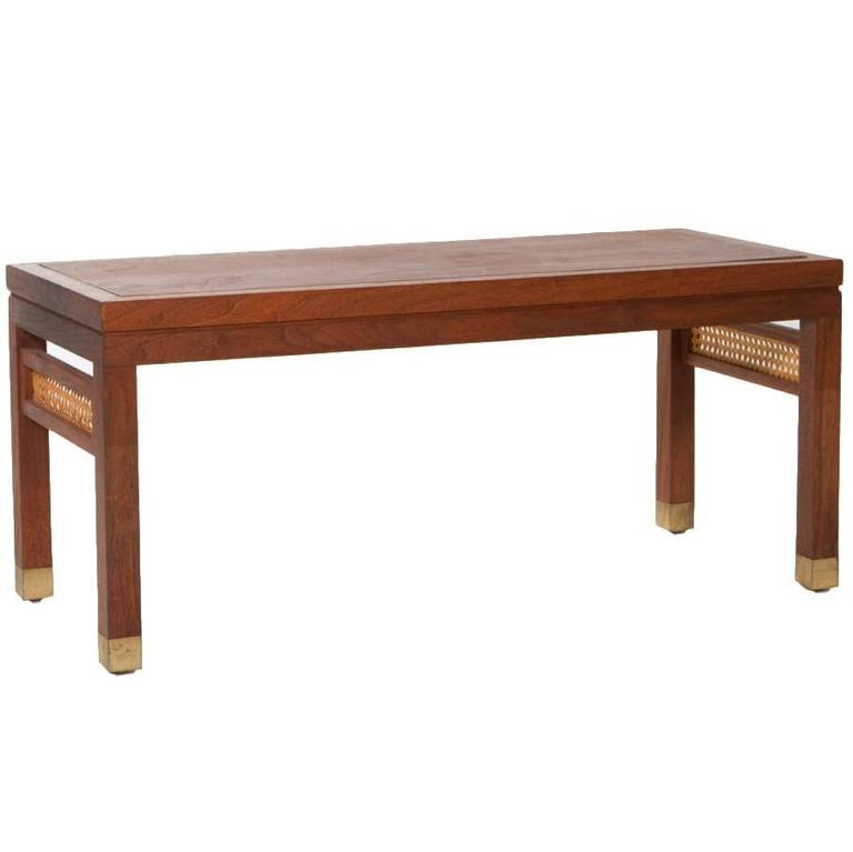 Mid century modern teak bench for sale at 1stdibs for Cocktail table with 4 benches
