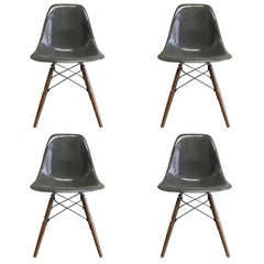 Four Herman Miller Eames Elephant Grey Dining Chairs
