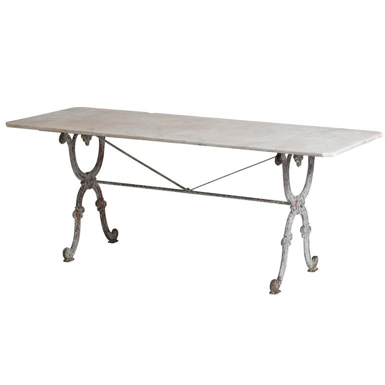 Large French Garden Table with Original Marble Top, circa 1880