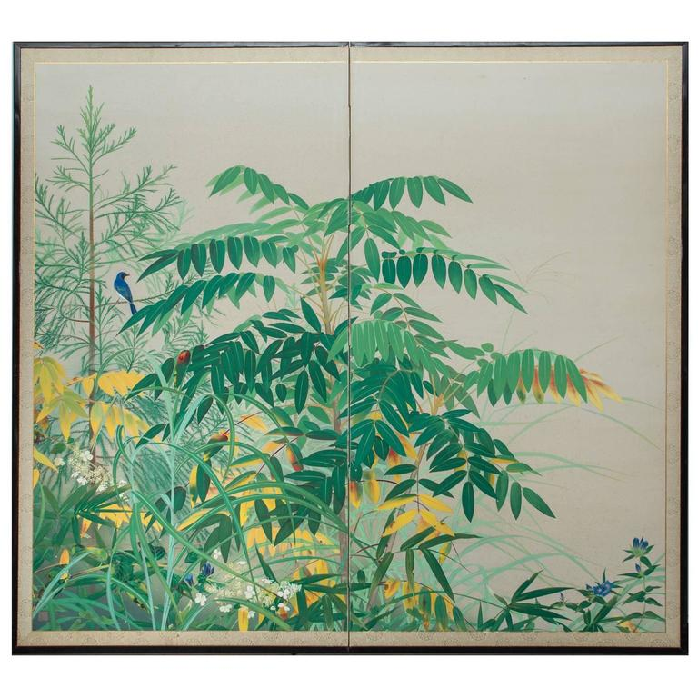 Japanese Two Panel Screen:  Edge of the Forest