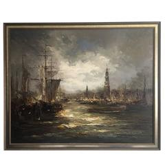 Impressionist Oil on Canvas Painting by Johannes Bévort, Harbor Scene