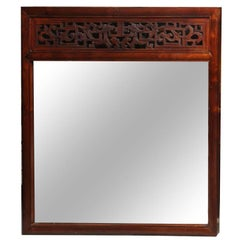Contemporary Elm Framed Mirror Incorporating a Fine Antique Chinese Carving