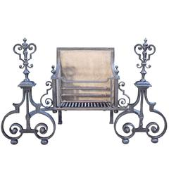 Early 19th Century Wrought Iron Fire Grate or Basket