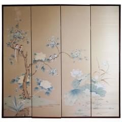 Beautiful Hand-Painted Chinese Screen