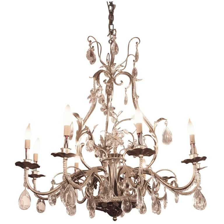 2005 Florentine Style Steel and Crystal Chandelier with ...