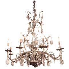 2005 Florentine Style Steel and Crystal Chandelier with Nine Arms