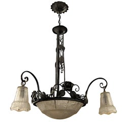 1930s Art Deco Wrought Iron and Cast Glass Chandelier with Floral Details