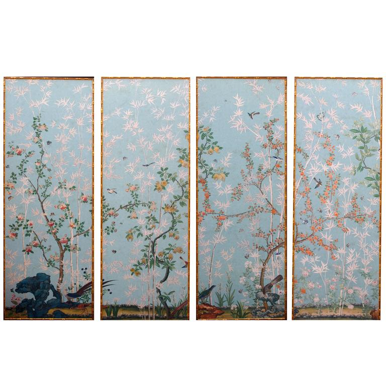 Set of Four High Wall Papers Framed, reproduction of Madame de Maintenon castle 1