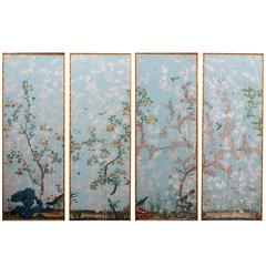 Set of Four High Wall Papers Framed, reproduction of Madame de Maintenon castle