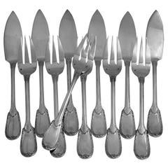 Christofle Rare French Sterling Silver Fish Flatware Set 12 Pieces neoclassical