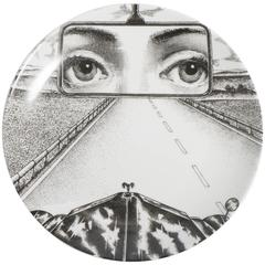 Atelier Fornasetti porcelain plate number 321, Italy circa 1990