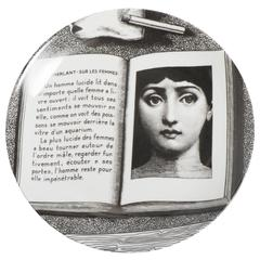 Atelier Fornasetti porcelain plate number 201, Italy circa 1990