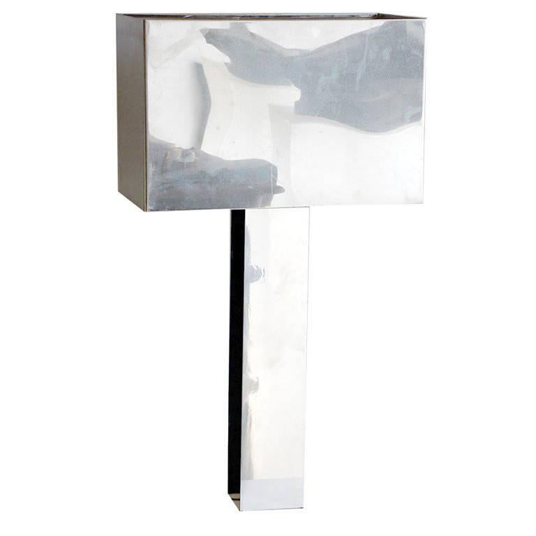 Sculptural 1970s Chrome Table Lamp by Curtis Jere, Signed For Sale