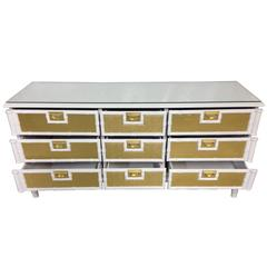 Mid-Century Modern American Campaign Style Lacquered Chest Of Drawers Dresser