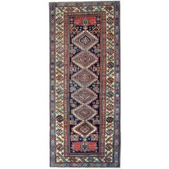 Antique Rug Runner Wool Oriental Rug Caucasian Hand Made Carpet for Sale