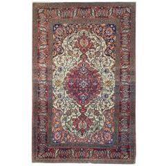 Antique Rugs, Floor Rug, Persian Isfahan Carpet, Cream Rugs for Sale