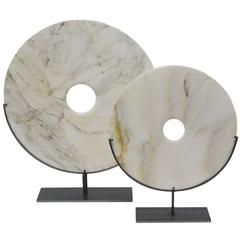 Set of Two Cream Stone Disc Sculptures, China, Contemporary