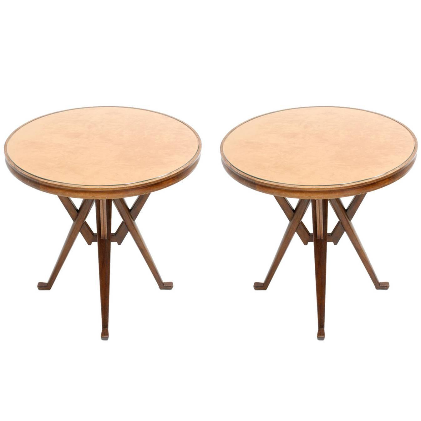 Carlo Mollino Influenced Pair Of Pedestal Tables For Sale At 1stdibs