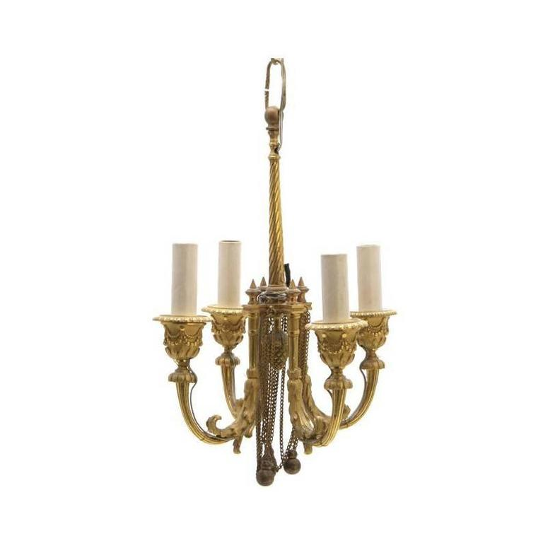 Extremely Fine Louis XVI Style Ormolu Four-Light Chandelier Form Lantern