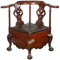 Fully Developed Mahogany Chippendale Commode Stool