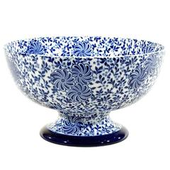 Doulton Burslem Aesthetic Movement Cobalt Blue & White Transfer Footed Punchbowl
