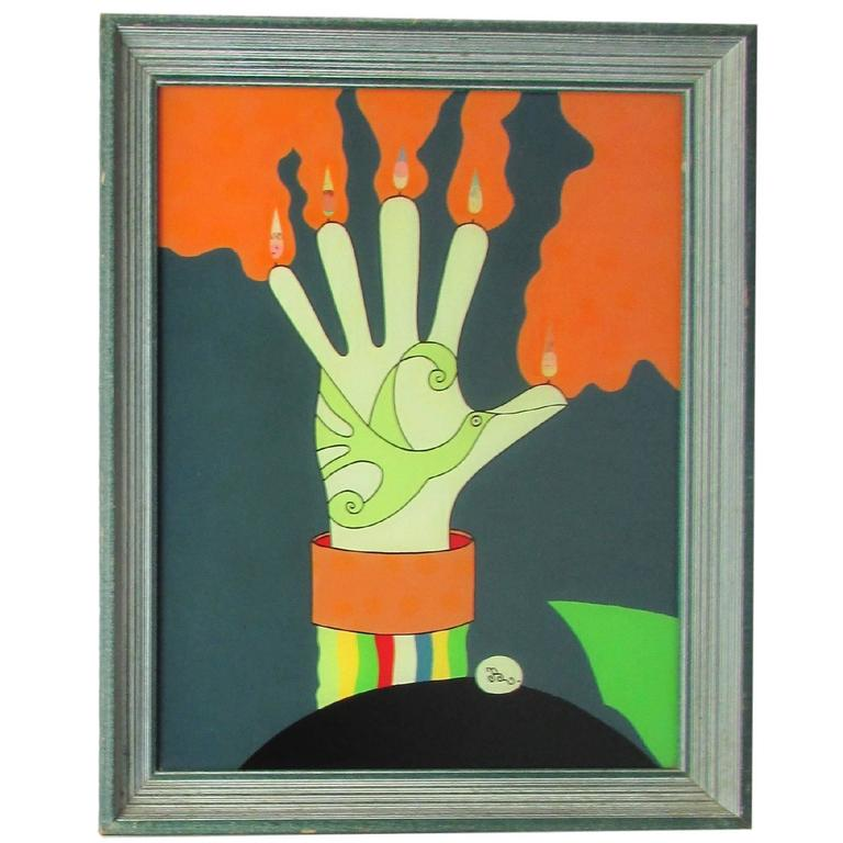"""Bird in Hand"" Reverse Glass Painting, 1975"