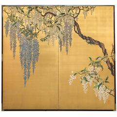 "Japanese Screen ""Wisteria on Gold"""