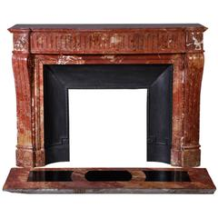 Antique Louis XVI Style Fireplace, Saint Maximin Breccia Marble, 19th Century